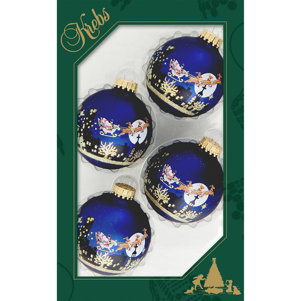 "2 5/8"" (67mm) Ball Ornaments, Night Before Christmas, Navy, 4/Box, 12/Case, 48 Pieces - Christmas by Krebs Wholesale"