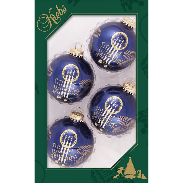 "2 5/8"" (67mm) Ball Ornaments, Yule Design, Indigo, 4/Box, 12/Case, 48 Pieces"