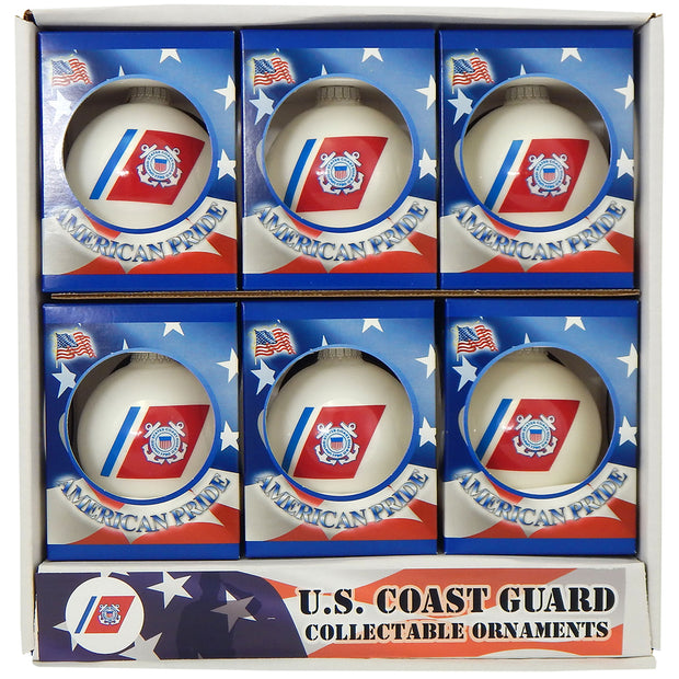 "3 1/4"" (80mm) Ball Ornaments, US Coast Guard Logo and Hymn, Porcelain White, 1/Box, 12/Case, 12 Pieces"