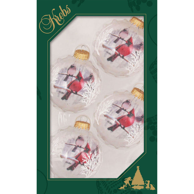 "2 5/8"" (67mm) Ball Ornaments, Reverse Print Cardinal, Clear/Multi, 4/Box, 12/Case, 48 Pieces"
