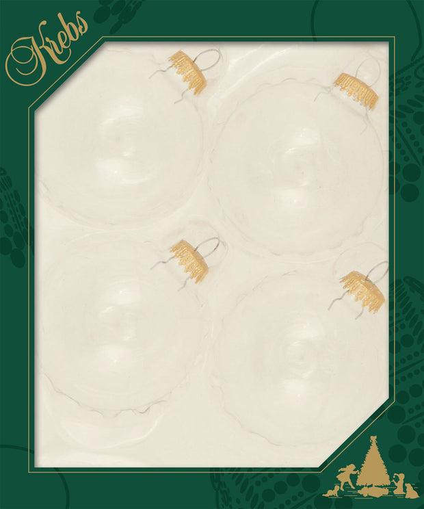 "3 1/4"" (80mm) Ball Ornaments, Gold Caps, Clear/Multi, 4/Box, 12/Case, 48 Pieces"