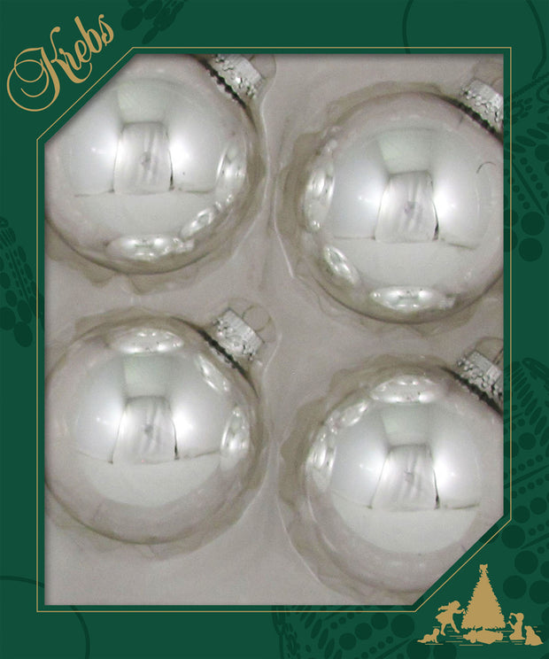 "3 1/4"" (80mm) Ball Ornaments, Silver Caps, Bright Silver, 4/Box, 12/Case, 48 Pieces"