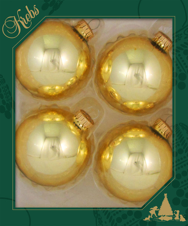 "3 1/4"" (80mm) Ball Ornaments, Gold Caps, Aztec Gold, 4/Box, 12/Case, 48 Pieces"