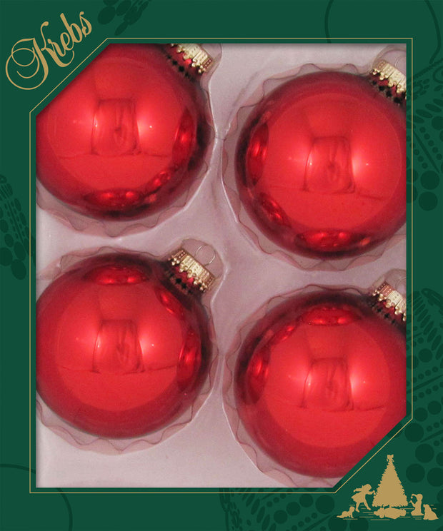 "3 1/4"" (80mm) Ball Ornaments, Gold Caps, Christmas Red, 4/Box, 12/Case, 48 Pieces"