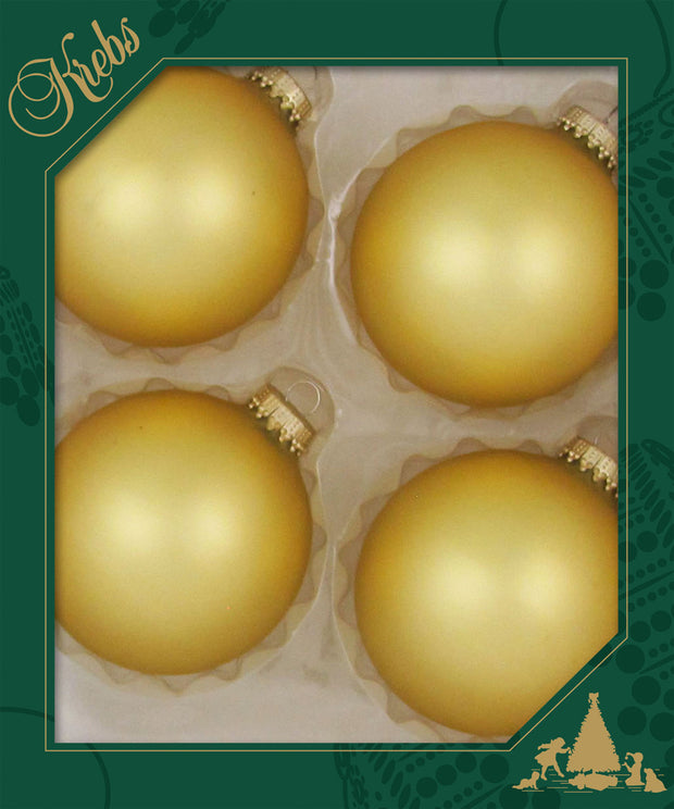 "3 1/4"" (80mm) Ball Ornaments, Gold Caps, Gold, 4/Box, 12/Case, 48 Pieces"