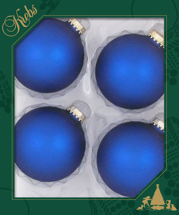 "3 1/4"" (80mm) Ball Ornaments, Gold Crown Cap, Royal, 4/Box, 12/Case, 48 Pieces"