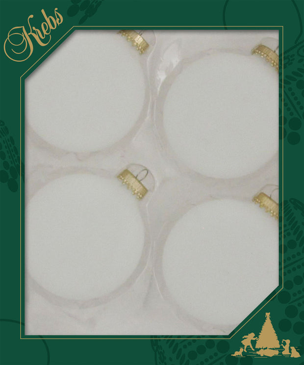 "3 1/4"" (80mm) Ball Ornaments, Gold Caps, Frost, 4/Box, 12/Case, 48 Pieces"