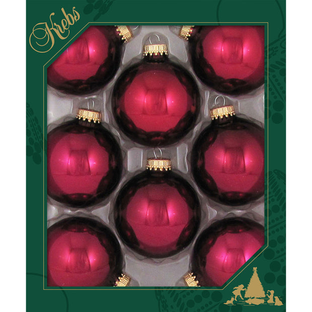 "2 5/8"" (67mm) Ball Ornaments, Gold Caps, Burgundy Red, 8/Box, 12/Case, 96 Pieces"