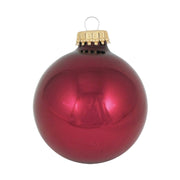 "2 5/8"" (67mm) Ball Ornaments, Gold Caps, Burgundy Red, 8/Box, 12/Case, 96 Pieces - Christmas by Krebs Wholesale"