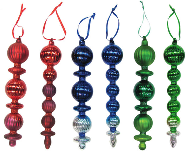 "8 3/4"" (222mm) Glass Finials, Multicolor, 12/Box, 1/Case, 12 Pieces - Christmas by Krebs Wholesale"