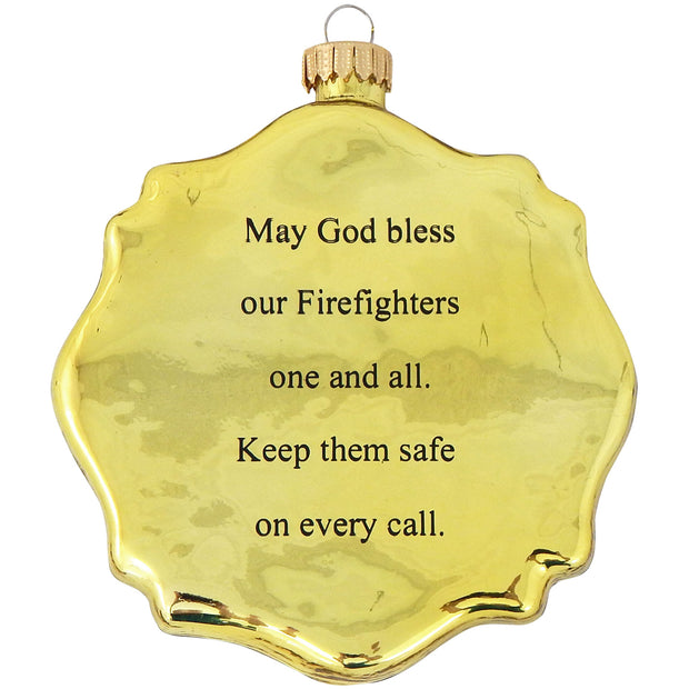 "3 1/2"" (89mm) Firefighter Badge Figurine Ornaments, 1/Box, 6/Case, 6 Pieces - Christmas by Krebs Wholesale"