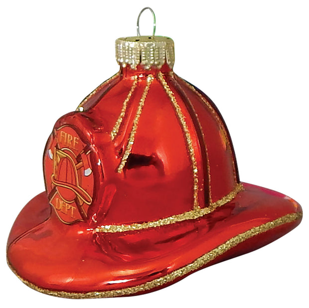 "2 1/2"" (64mm) Firefighter Hat Figurine Ornaments, 1/Box, 6/Case, 6 Pieces - Christmas by Krebs Wholesale"