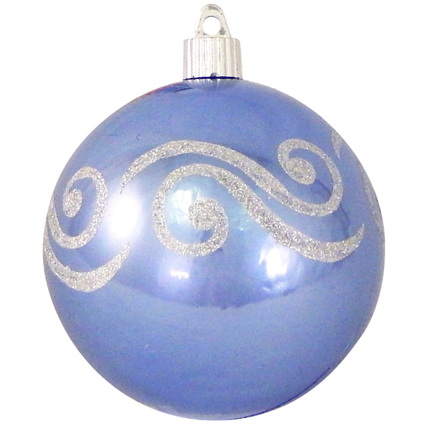 "4"" (100mm) Large Commercial Shatterproof Ball Ornament, Polar Blue, Case, 24 Pieces"