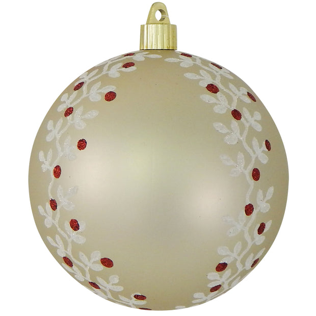 "4 3/4"" (120mm) Jumbo Commercial Shatterproof Ball Ornament, Buff Velvet, Case, 24 Pieces"