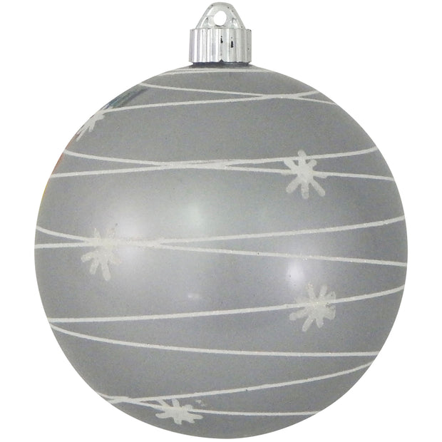 "6"" (150mm) Decorated Commercial Shatterproof Ball Ornaments, Candy Silver, 1/Box, 12/Case, 12 Pieces"