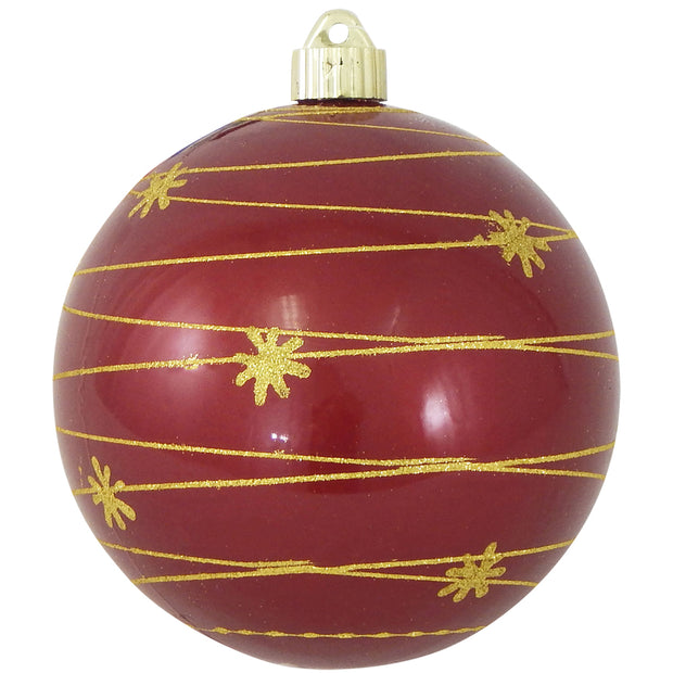 "6"" (150mm) Decorated Commercial Shatterproof Ball Ornaments, Candy Red, 1/Box, 12/Case, 12 Pieces"