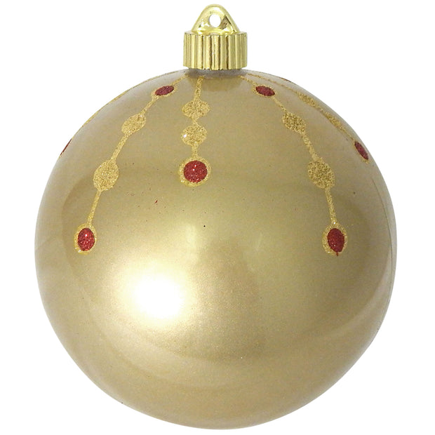 "6"" (150mm) Decorated Commercial Shatterproof Ball Ornaments, Candy Gold, 1/Box, 12/Case, 12 Pieces"