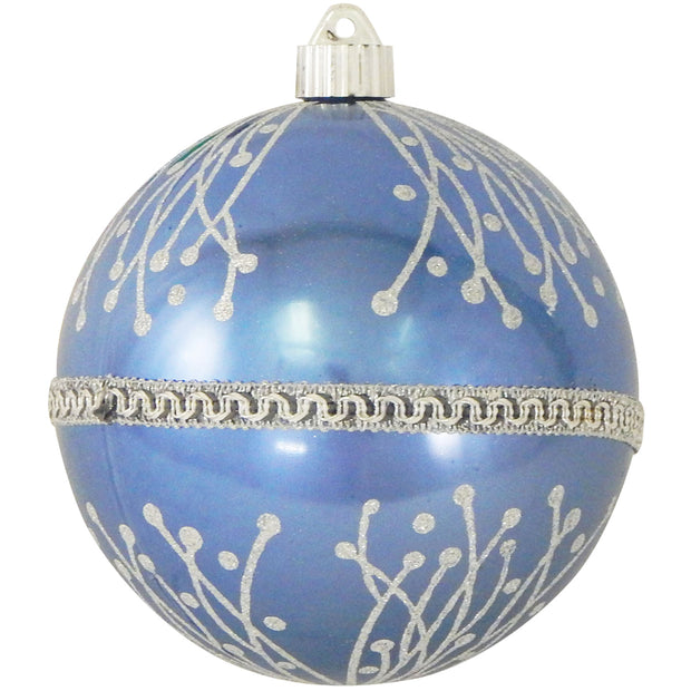 "6"" (150mm) Decorated Commercial Shatterproof Ball Ornaments, Polar Blue, 1/Box, 12/Case, 12 Pieces"