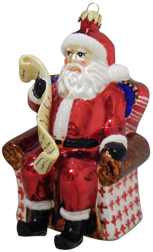 "4 1/2"" (114mm) Santa with List Figurine Ornaments, 1/Box, 6/Case, 6 Pieces"