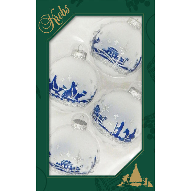 "2 5/8"" (67mm) Ball Ornaments, Bethlehem Scene, Blue/Silver, 4/Box, 12/Case, 48 Pieces"