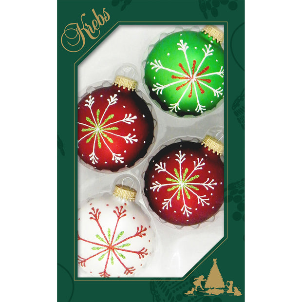 "2 5/8"" (67mm) Ball Ornaments, Thin Snowflakes, Multi, 4/Box, 12/Case, 48 Pieces - Christmas by Krebs Wholesale"