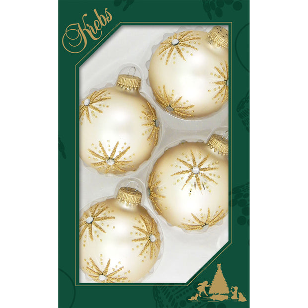"2 5/8"" (67mm) Ball Ornaments, Elegant Starbursts, Oyster Velvet, 4/Box, 12/Case, 48 Pieces - Christmas by Krebs Wholesale"