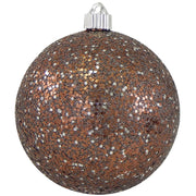 "6"" (150mm) Large Commercial Shatterproof Ball Ornaments, Brown/Silver Brown, 1/Box, 12/Case, 12 Pieces - Christmas by Krebs Wholesale"