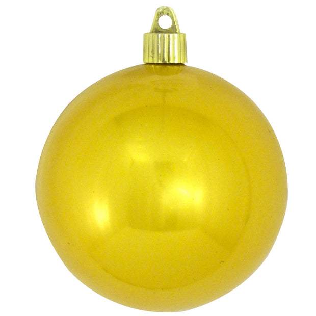 "4"" (100mm) Large Commercial Shatterproof Ball Ornament, Sunshine Yellow, Case, 48 Pieces"