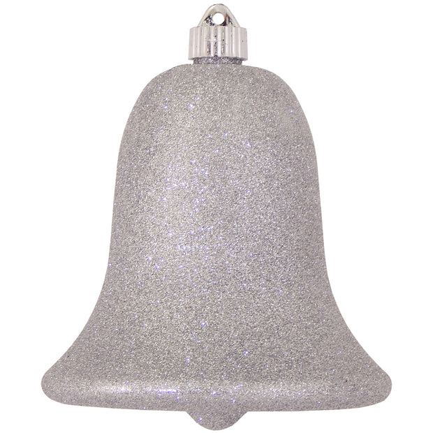"7"" (178mm) Commercial Shatterproof Bell Ornaments, Silver Glitter, 1/Box, 12/Case, 12 Pieces"