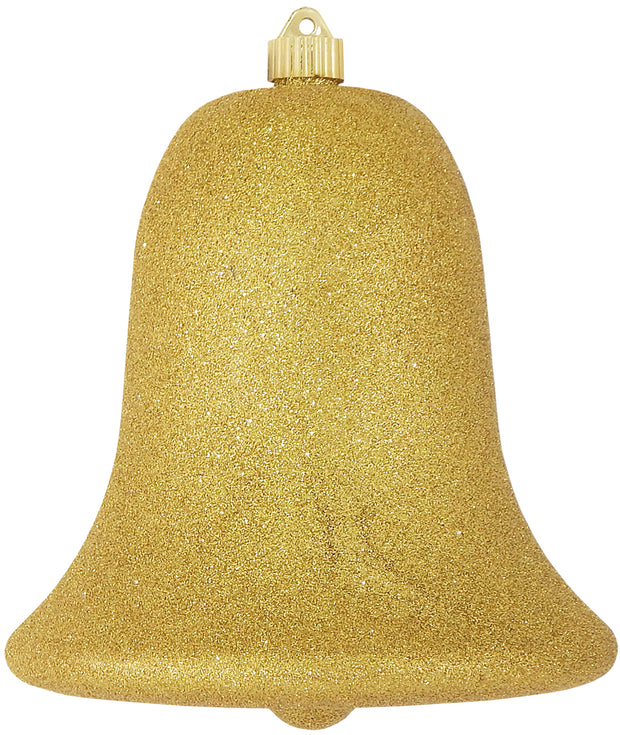 "9"" (229mm) Commercial Shatterproof Bell Ornaments, Gold Glitter, 1/Box, 6/Case, 6 Pieces"