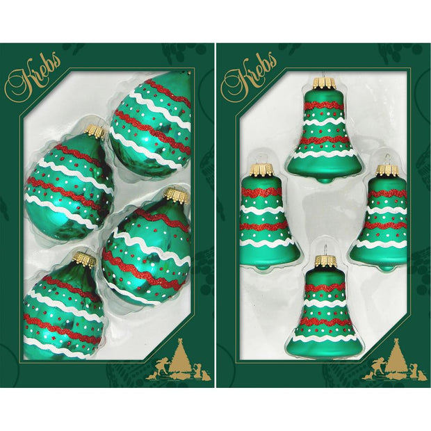 "3 1/2"" (89mm) Shatterproof Bell and Droplet Ornaments, Green Velvet, 4/Box, 12/Case, 48 Pieces - Christmas by Krebs Wholesale"