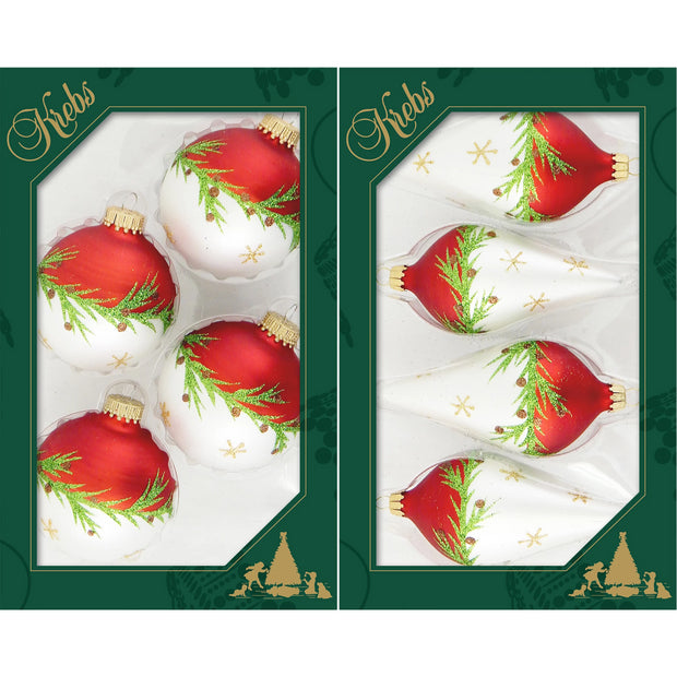 "4 5/8"" (67mm) Glass Finials, Red Multi, 12/Box, 4/Case, 48 Pieces - Christmas by Krebs Wholesale"