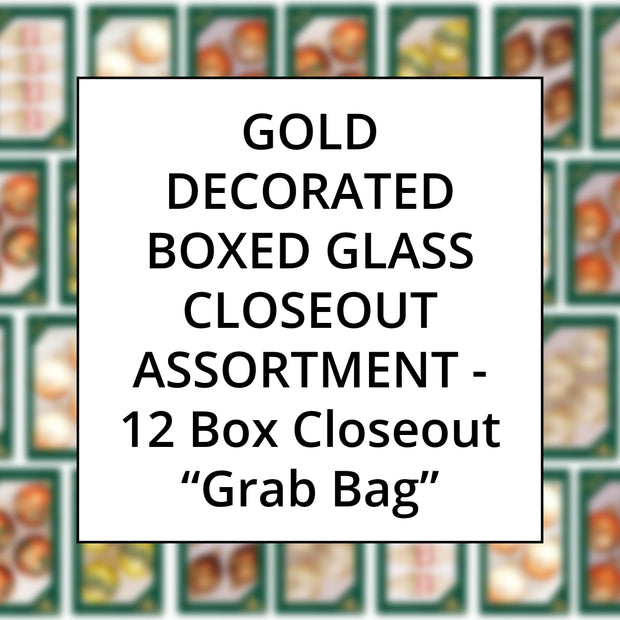 Gold Color Family Decorated Boxed Glass, Grab Bag Closeout Assortment, 12 Boxes