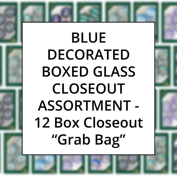 Blue Color Family Decorated Boxed Glass, Grab Bag Closeout Assortment, 12 Boxes
