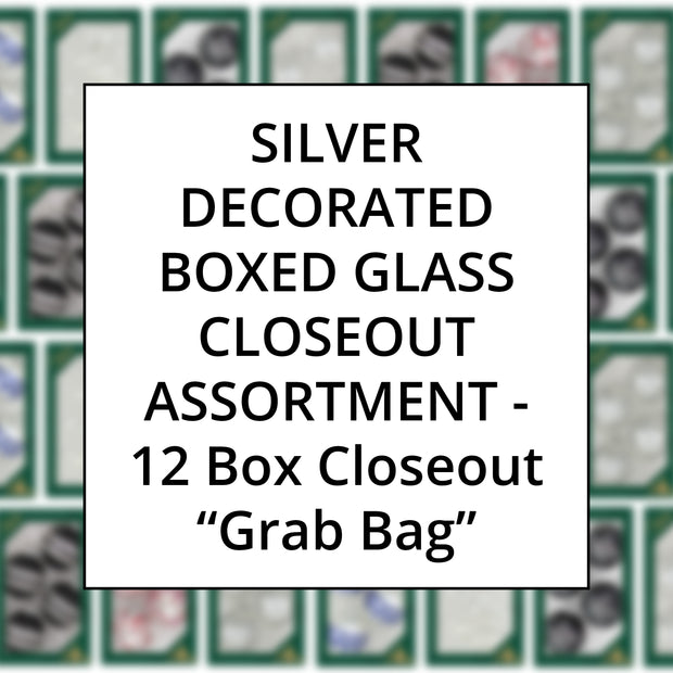 Silver Color Family Decorated Boxed Glass, Grab Bag Closeout Assortment, 12 Boxes