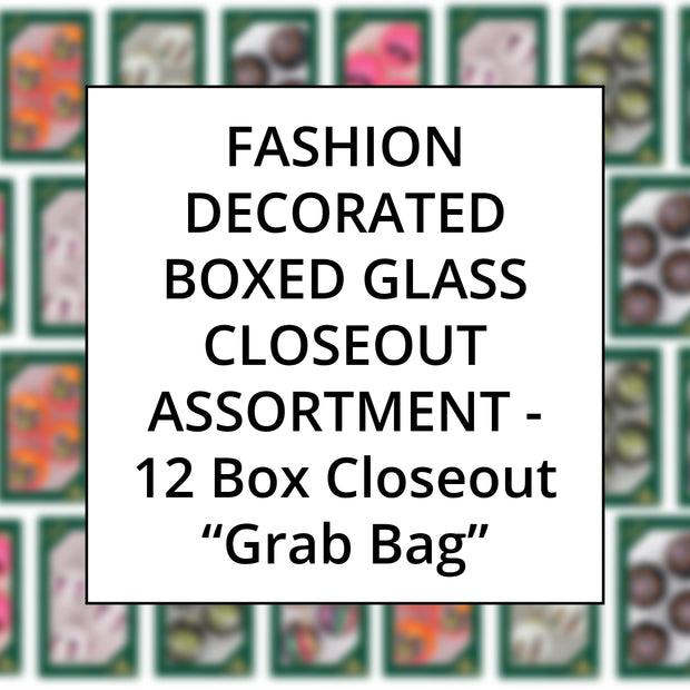 Fashion Color Family Decorated Boxed Glass, Grab Bag Closeout Assortment, 12 Boxes