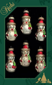"2"" (50mm) Red Glass Snowman Figurine Ornaments, 6/Box, 12/Case, 72 Pieces"