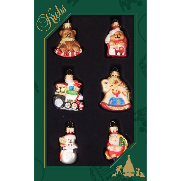 Glass Mini Toy Figurine Ornaments Ornaments, 6/Box, 24/Case, 144 Pieces - Christmas by Krebs Wholesale