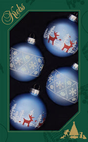 "2 5/8"" (67mm) Ball Ornaments, Deer and Snowflake, Alpine, 4/Box, 12/Case, 48 Pieces"