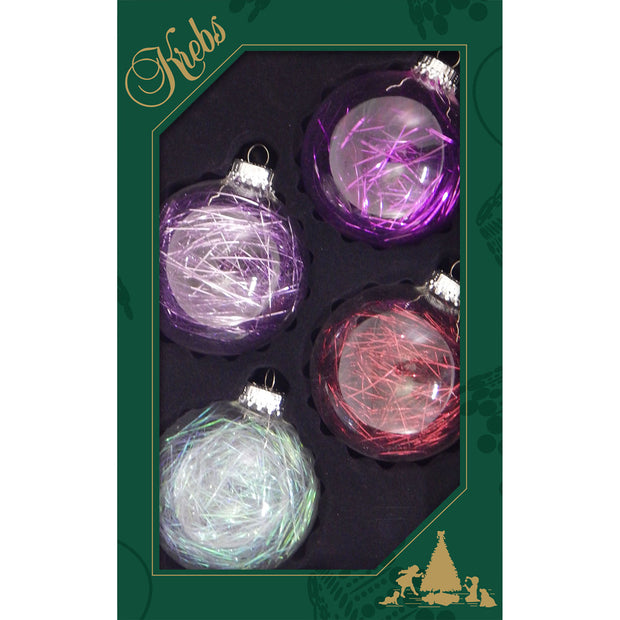 "2 5/8"" (67mm) Ball Ornaments, Purple Red Inside Tinsel, Clear/Multi, 4/Box, 12/Case, 48 Pieces"