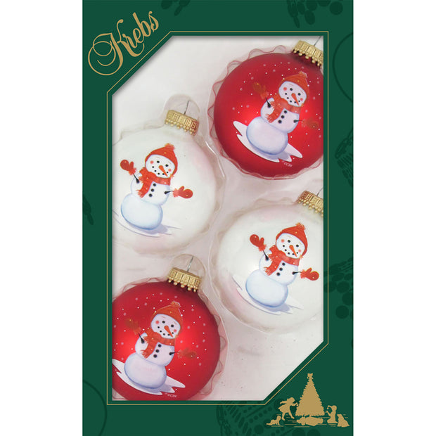 "2 5/8"" (67mm) Ball Ornaments, Red Hat Snowman, Multi, 4/Box, 12/Case, 48 Pieces - Christmas by Krebs Wholesale"