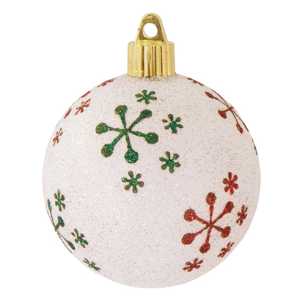 "3 1/4"" (80mm) Commercial Shatterproof Ball Ornament, Snowball Glitter, Case, 36 Pieces"
