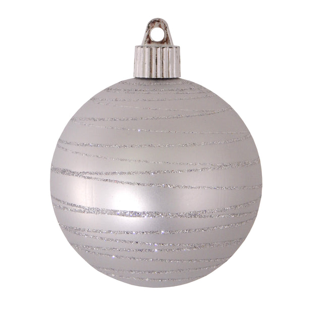 "3 1/4"" (80mm) Commercial Shatterproof Ball Ornament, Dove Gray, Case, 36 Pieces"