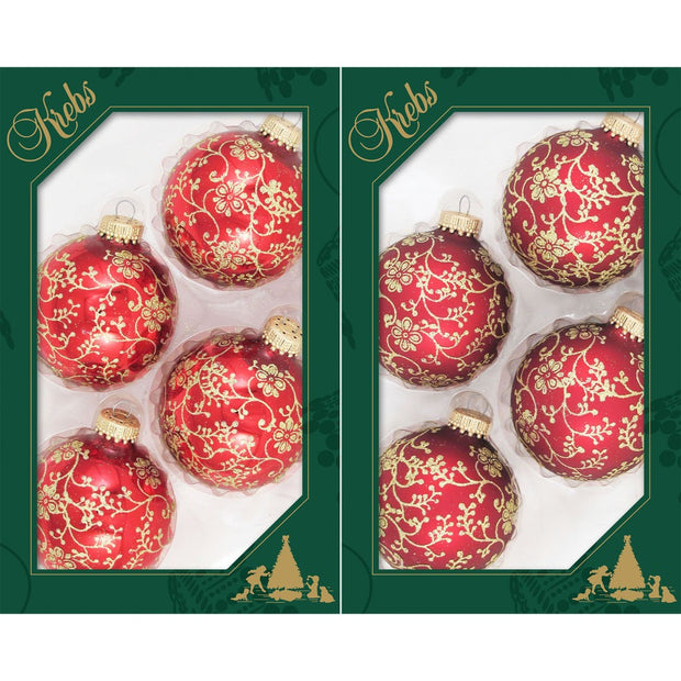 "2 5/8"" (67mm) Ball Ornaments, Floral Glitterlace, Red/Gold, 4/Box, 12/Case, 48 Pieces - Christmas by Krebs Wholesale"