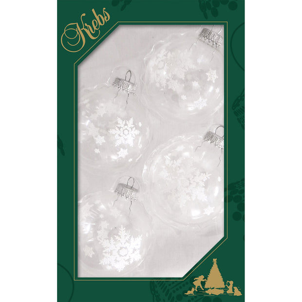 "2 5/8"" (67mm) Ball Ornaments, White Big Snowflakes, Clear/Multi, 4/Box, 12/Case, 48 Pieces"