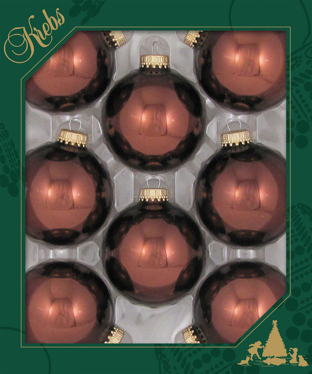 "2 5/8"" (67mm) Ball Ornaments, Gold Caps, Friar Brown Shine, 8/Box, 12/Case, 96 Pieces"
