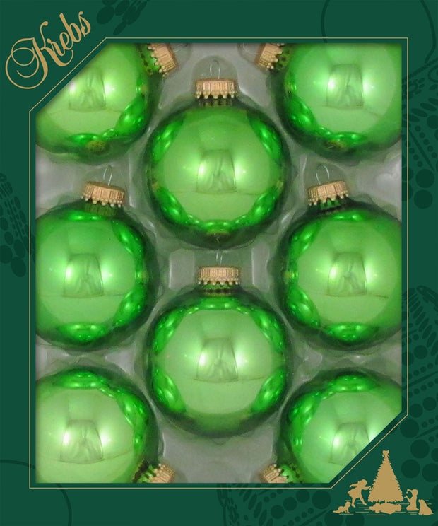 "2 5/8"" (67mm) Ball Ornaments, Gold Caps, Jade Lime, 8/Box, 12/Case, 96 Pieces"