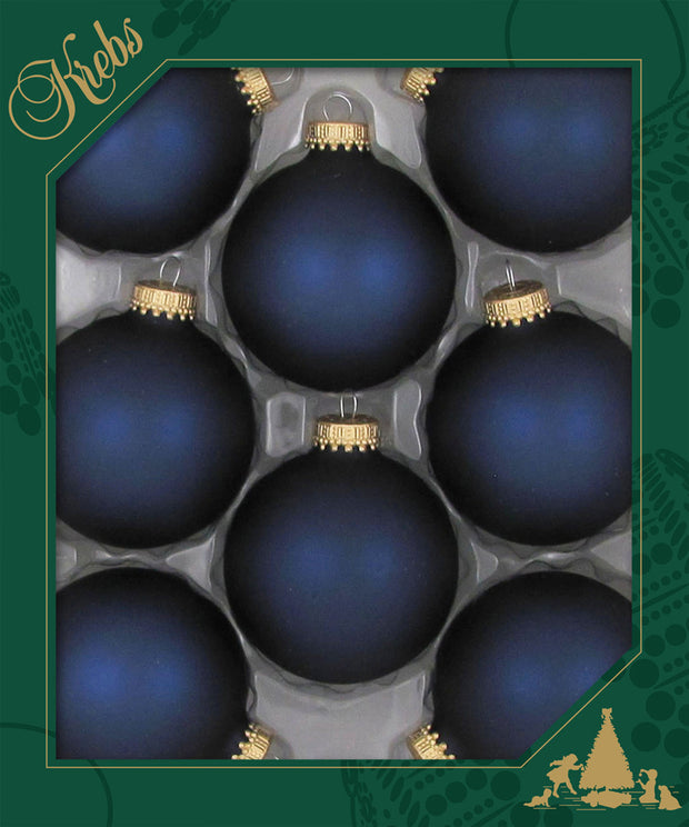 "2 5/8"" (67mm) Ball Ornaments, Gold Caps, Midnight Haze, 8/Box, 12/Case, 96 Pieces"