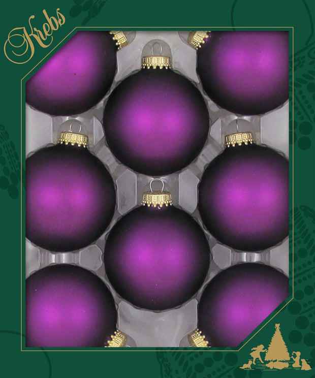"2 5/8"" (67mm) Ball Ornaments, Gold Caps, Purple Magic, 8/Box, 12/Case, 96 Pieces - Christmas by Krebs Wholesale"