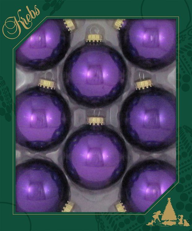 "2 5/8"" (67mm) Ball Ornaments, Gold Caps, Royal Lilac, 8/Box, 12/Case, 96 Pieces - Christmas by Krebs Wholesale"